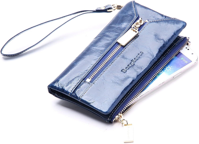 Borgasets Women's Leather Key Wallet bluee