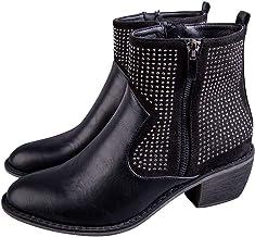 $46 » Padaleks Women Western Short Ankle Booties Pointed Toe Rhinestone Side Zipper D'Orsay Leather Block Heels Boots Wedding Shoes