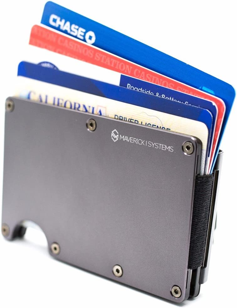 RFID-Blocking Slim Minimalist Card Holder /Travel Wallet For Credit Cards & More (Gun Metal)
