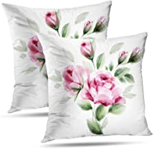 Pakaku Superb Pillowcase, Throw Pillow Covers, Watercolor Roses Bouquet Flowers with Brush White Cushion Cover Gift 2 Sided Pattern 20 x 20, Watercolor Roses 03