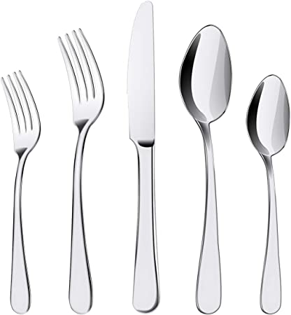 Silverware Set, ENLOY 20 Pieces Stainless Steel Flatware Cutlery Set, Include Knife Fork Spoon, Mirror Polished, Dishwasher Safe, Service for 4