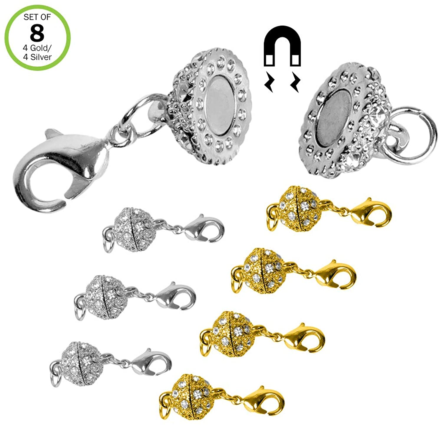 Evelots Magnetic Jewelry Clasps, Rhinestone Ball, Goldtone Or Silvertone- Set/8