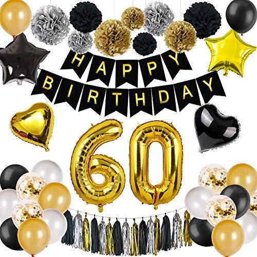 DANXIAN 60 Geburtstag Deko Schwarz Gold, Happy Birthday Geburtstagsdeko Set Mädchen Junge mit 60. Geburtstag Luftballons für Party Deko
