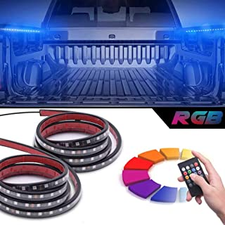 "MICTUNING 2Pcs 60"" SMART RGB LED Truck Bed Lights w/Sound-activated Function, Wireless Remote, On/off Switch for Pickup SU..."