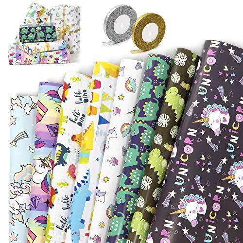 Papel de Regalo,WolinTek 8 Diseño Papel Para Envolver Regalos con 2 Rollo de Cinta, Niños Niñas Cumpleaños Papel Regalo, para Cumpleaños,Baby Shower,Día De Fiesta,Navidad y Más (70 x 50cm)