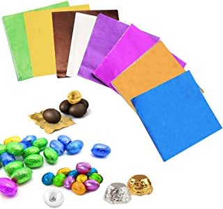 BUZIFU 800 Pieces 8 Colors Chocolate Candy Wrappers Sweets Foil Wrappers DIY Package Candy Paper Wrapping Papers Aluminum Tinfoil Packaging for DIY Candy Packaging Decoration, 3.15