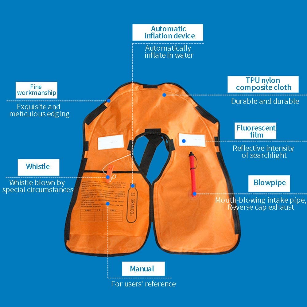 KAIYAN Life Jackets Super Floating Automatic Inflating Life Vest Swim Stick Ultra-lightweight Neck Hanging Adult Life Jackets Portable Shoulder-style Inflatable Floating Jackets With Whistle