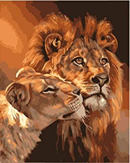 Lmqzzh DIY Frameless Digital The Lion King Hand Made Paint Canvas Beautiful Painting by Numbershome Decor for Living Room Gift-40X50Cm