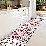alfombra vinilica cocina roja