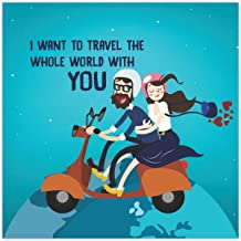 Yaya Cafe Valentine Gifts for Boyfriend Husband Fridge Magnet I Want to Travel The Whole World with You Printed - Square