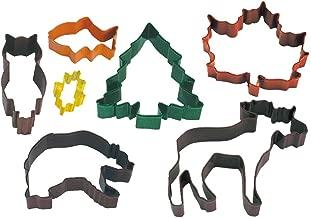 R&M International 2001 Wilderness Cookie Cutters, Moose, Tree, Owl, Bear, Fish, Maple, Oak Leaf, 7-Piece Set