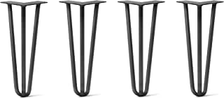 """16"""" DIY Hairpin Legs 4 Per Set - 100% Made in USA from Recycled Steel - Heavy-Duty Standard, Tested to Hold 100s Lbs - Table, Desk, Sofa (1/2"""" Thick Steel, 3-Rod, Jet Black Satin Quality Powder Coat)"""