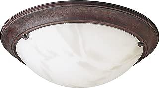 Progress Lighting P3481-33 Close-To-Ceiling Semi-Flush Fixture with Faux Tiffany Art Glass, Cobblestone