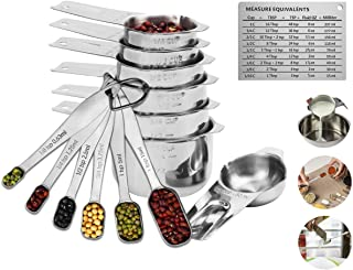 Measuring Cups and Spoons Set of 14 - Liquid Metal Metric Food Measurement,Heavy Duty 18/8 Stainless Steel,7 Nesting Easuring Cups,6 Flat Measuring Teaspoon,1 Magnetic Conversion Chart,Dishwasher Safe