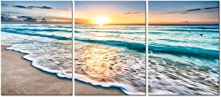 Pyradecor 3 Panels Blue Beach Sunrise White Wave Pictures Painting on Canvas Wall Art..