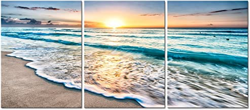 Pyradecor 3 Panels Blue Beach Sunrise White Wave Pictures Painting on Canvas Wall Art Modern Stretched and Framed Seascape...