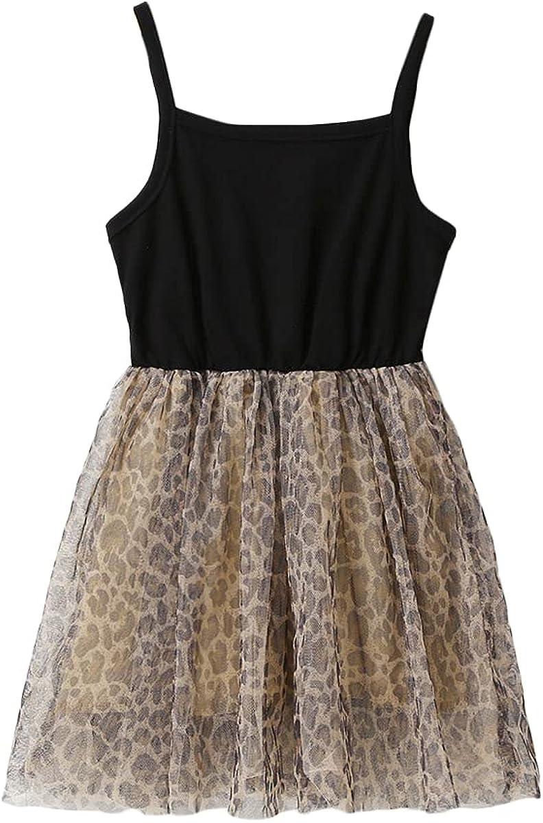 Romwe Toddler Girl's Sleeveless Cami Sundress Leopard Print Party Sakter Tutu Dress