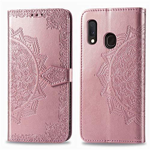 EINFFHO - Funda para Samsung Galaxy A20E, diseño de flores en relieve de piel sintética con tapa, tarjetero, funda protectora de silicona para Samsung Galaxy A20E, color oro rosa