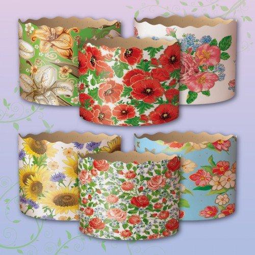 INTEROS 5er Set Backform 90x90mm. aus Papier *Panettone* Ostern Kuchen Blumen Motiv