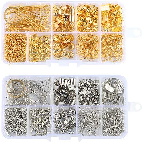 Kit de suministros de fabricación de joyas de 922 piezas con extremos de cordón, extremos de cinta, kit de pulsera de cinta, cierres de joyería de langosta para bricolaje (oro y plata)