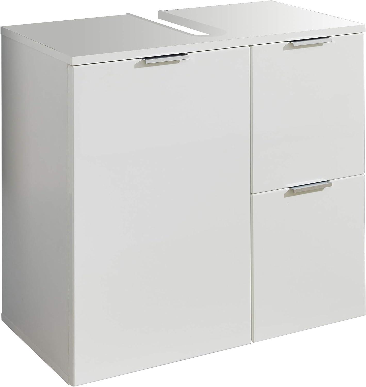 trendteam smart living Armario para Lavabo, Material de Madera, Color Blanco Brillante, 60 x 64 x 34 cm