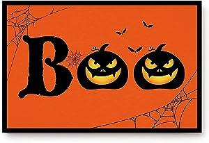 Halloween Boo Doormat Decorative Halloween Floor Garden Mat Lightweight Non-Slip Indoor Outdoor Door Mat for Home Entrance Bathroom Kitchen Living Room Bedroom23.6 x15.7