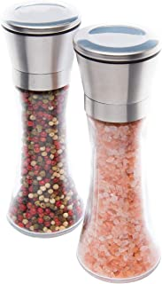"Tall Salt and Pepper Grinders – Set of 2, 6oz, 7.5"" – 5 Level Adjustable Coarseness, Glass and Stainless Steel with Ceramic Rotor – Stylish Tabletop Shakers – Mills Peppercorns and Sea Salt"