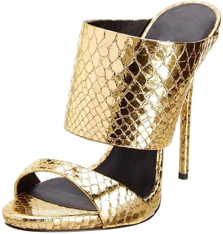 Glintare Doppel Riemen Sandalen für Frauen Stiletto Slipper Open Toe Clogs Backless Echtes Leder mit Absatz Faux Schlangenhaut Muster Sexy (Farbe   Gold, Größe   40 EU)