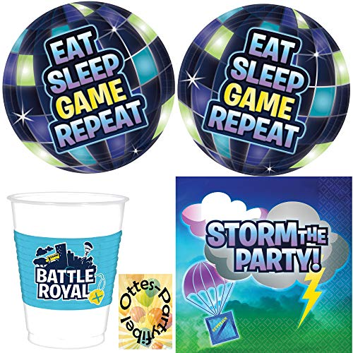 HHO Battle-Royal-Party-Set für 8 Gamer 32tlg. bekannt aus Fortnite , PlayerUnknown?s Battlegrounds , Apex Legends Teller Becher Servietten