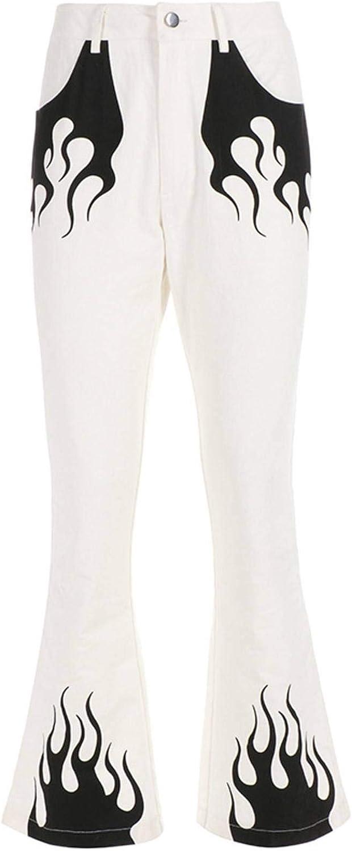 Spring Fashion New Flame Print Sports Pants Women Y2k Wide Leg High Waist Slim Trousers Casual Pants