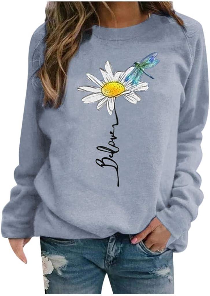 AODONG Long Sleeve Tops for Women,Womens Cute Flower Print O-Neck Sweatshirt Long Sleeve Shirt Casual Loose Tunic Tops