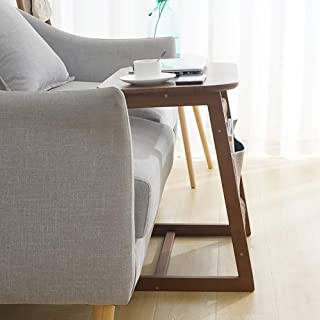 High quality Side Pocket End Table Bamboo Laptop Tables, Modern Accent Furniture for Home Office Sofa Bedside Living Room ...