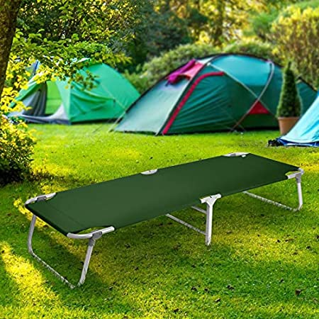 The Magshion Portable Military Fold Up Camping Bed Cot is built in several nice colors, and it comes with its storage bag.