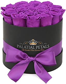 PALATIAL PETALS 24k Gold Roses That Last A Year   365 Day Year-Long Lasting Roses   Preserved Forever Rose Arrangement Flower Box Bouquet   Birthday Gifts for Her Women Girlfriend Mom (Purple)