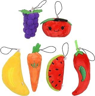 Mini Fruit Schlüsselanhänger, Creative 3D Plüsch Party Supplies Handtasche Geldbörse Auto Schlüsselanhänger Dekoration (6 Stück)