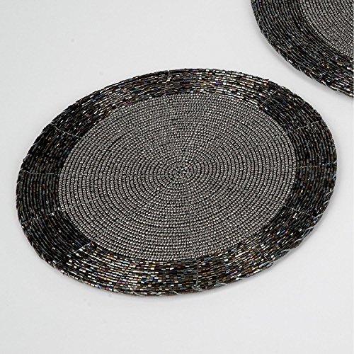 Platzset 30cm für Gläser, Untersetzer, mit Perlen, schwarz silber, FORMANO, 507341