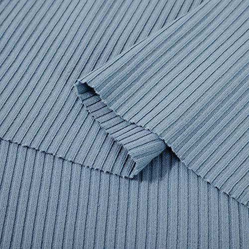 Puur katoenen effen stof, legging met pitkoord met schroefdraad, geribd katoen-Lichtblauw grijs