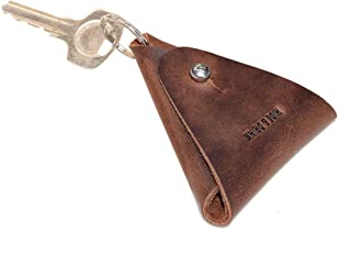 Hide & Drink, Leather Triangular Coin Keychain/Key Ring/Holder/Pouch/Case/Accessories, Handmade Includes 101 Year Warranty :: Bourbon Brown