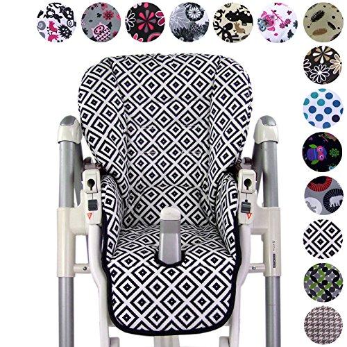 Bambiniwelt zitkussen, vervangende hoes voor Peg Perego Prima Pappa Diner * 24 kleuren * NIEUW zwart/witte ruiten.