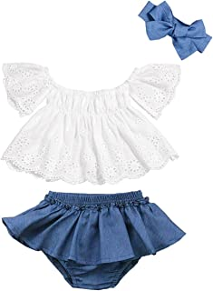 Toddler Baby Girls Clothes Lace Off Shoulder Short Sleeve Tops+Stripe Shorts +Bow Headband Summer Outfits Set
