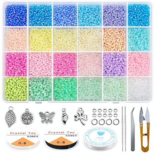 HW Glass Seed Beads Started Kit,14400pcs 3mm 8/0 Small Craft Beads with...