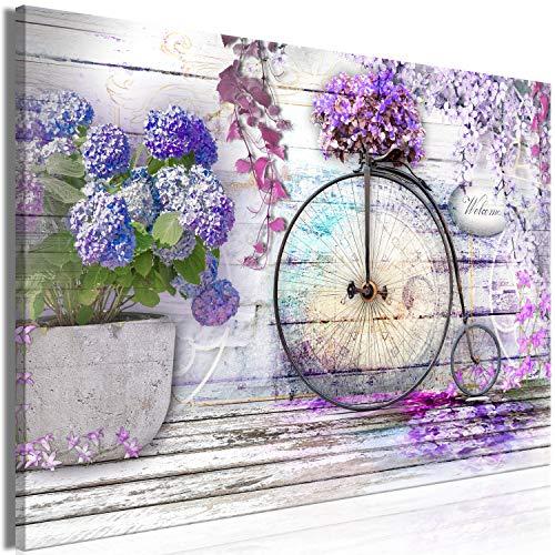 murando Cuadro en Lienzo Flores 120x80 cm 1 Parte Impresión en Material Tejido no Tejido Impresión Artística Imagen Gráfica Decoracion de Pared Retro Madera Bicicleta Hortensia b-C-0653-b-a