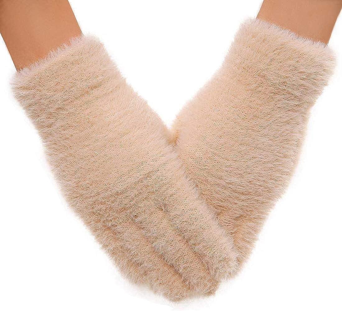 Women's Winter Gloves Imitated Mink Gloves Soft Like Baby's Skin Light Slim Soft Warm Gloves for Winter Outdoor Sports, Gift