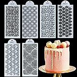 MAMUNU 6 plantillas para decoración de pasteles de plástico, plantillas para tartas de flores, herramientas para hornear, fondant, postre, cumpleaños, boda, decoración de tartas
