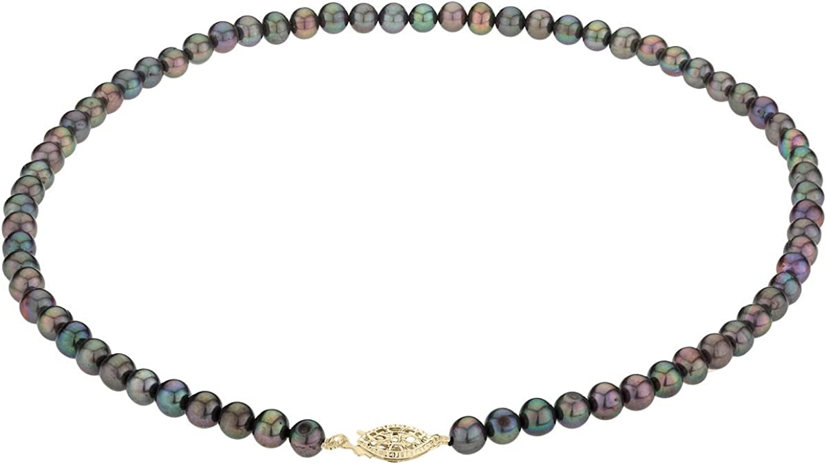 Black Peacock Freshwater Cultured Pearl 18 inch Necklace 6-7mm with 14K Yellow Gold Clasp