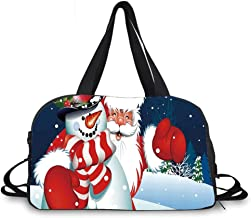 Christmas Personality Travel Bag,Smiling Santa Claus Hugging Snowman in Cartoon Style Winter Hills Fir Trees Decorative for Travel Airport,One_Size