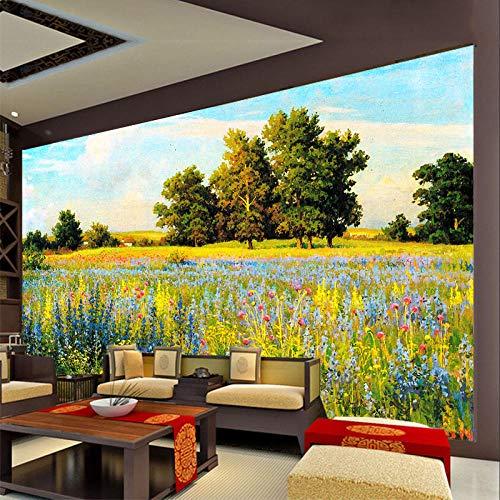Fotobehang muur Muralscustom behang op maat muurbehang 3D met de hand beschilderd landschap met bloemen gras bomen achter tv bank bed als achtergrond in woonkamer 150 * 105cm
