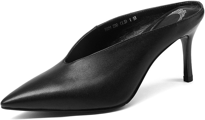 Nio Sju genuina läderskor Kvinnors Kvinnors Kvinnors spetsiga tå Stiletto Heel Handgjorda Sexiga Söta Mulpumpaskor  golvpris