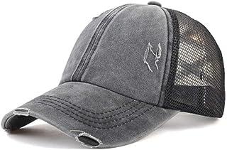Unisex Baseball Caps Ripped Peaked Cap Adjustable Sport Caps Women Cross Ponytail Cotton Mesh Sun Hat