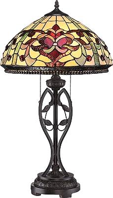 Lampe de table FARFALLA 7 Bronze doré Ø 41 cm H 68 cm Style Tiffany Lampe design pour salon chambre à coucher